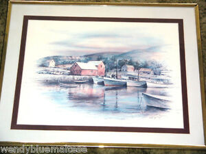 Fishing Village by RF Harnett Framed Print Shades of Pink & Blue Ready to Hang