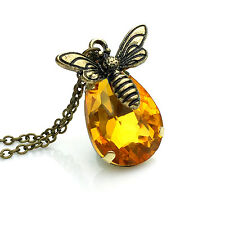 Bee Necklace, Gift for Women Girls Honey Bee Yellow Crystal Topaz Necklace Amber