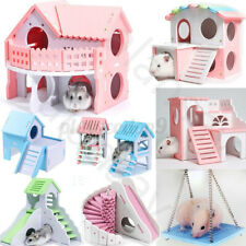 9 Types Syrian Hamster Nest House Squirrel Chinchilla Villa Swing Bed Cage Toys