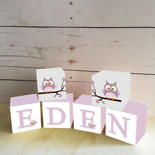 Personalised Wooden Name Blocks PRICE PER BLOCK/LETTER Purple & Grey Owl Design