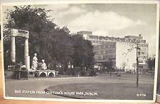Irish Postcard BUS STATION 1930s Custom House Park DUBLIN Ireland Valentine Eire