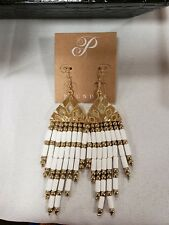 "Plunder Nessie Earrings white and gold beaded tassels 5"" drop"