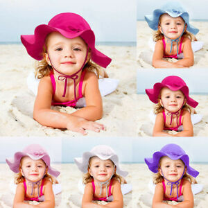 Summer Toddler Baby Kid Girl Boy Candy Solid Ribbons Breathable Hat Bucket Cap r