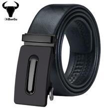 UK Black Leather Mens Belts Automatic Buckles Ratchet Trousers Waist Straps XXXL