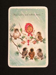 Vintage Christmas Card Marjorie Cooper Postcard Angel Bird Musical Choir Unused