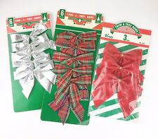Trim A Tree Bows 4�X 4� 3 Packages 5 Silver 6 Red Plaid 3 Red Vintage Christmas