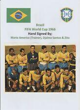 MARIO AMERICO, DJALMA SANTOS & ZITO BRAZIL WORLD CUP 1966 RARE ORIG AUTOGRAPHS
