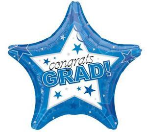 "Congrats Grad Graduation Blue 19"" Star Shaped Helium Balloons Party 3 Pack"