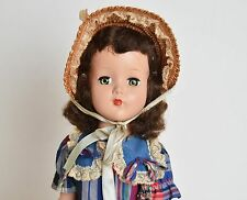 "Vintage 50s Arranbee R&B Nanette Brunette Doll Dress Straw Hat 17"""