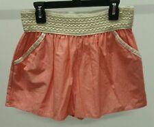 Twenty Second Women's Pink Salmon Solid Denim Shorts With Crochet Waistband Sz M