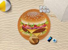 "57"" x 57"" Cheeseburger Design Microfibre Beach Towel Pool Sun Bathing Towel Only"