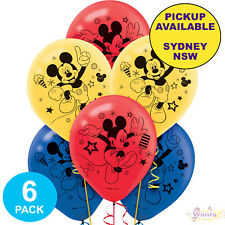 MICKEY MOUSE PARTY SUPPLIES 6 LATEX BALLOONS BIRTHDAY DECORATIONS