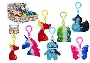 Pop Mate Clip On Keyring Fidget Push Poppers Tie Dye Sensory Toy Various Designs