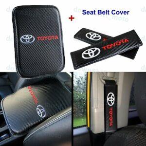 For NEW TOYOTA Carbon Fiber Car Center Armrest Cushion Mat Pad Cover Combo Set