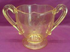 Sugar Lancaster Glass Jubilee Yellow Etched Depression Vintage