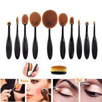 10tlg Foundation Oval Pinsel Puderpinsel Kosmetik Brush Make Up Zahnbürste Set