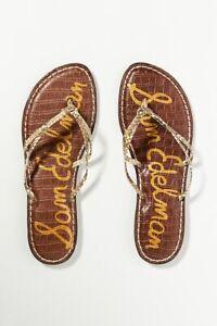 Anthropologie Gold Sam Edelman Flip-Flop Sandals Size 8