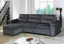 Corner Sofa Bed with Storage in Grey Fabric. Super Comfotable