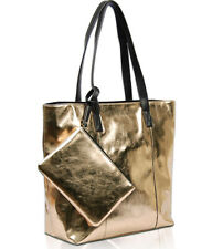 Vieta Brooklyn Metallic Vegan Leather, Zip-Top Tote w/Coin Bag- Gold