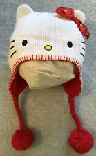 HELLO KITTY White Red Knit Cap Hat Beanie, One Size, Red Bow Fleece Braids Poms