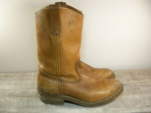 Red Wing Brown Leather Work Biker Boots Pull On Vintage 80s US Made Men's 7.5 D