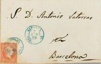 Spanien Cataluña. Geschichte Postal. Umschlag 48. 1859. 4 / Rojo. Satteltasche A