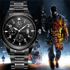 Fashion  Men's Black Striped Calendar Business Watch Fake Three-Eye Quartz Watch