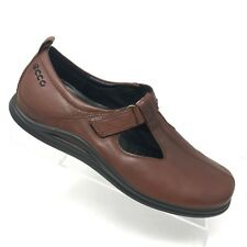 Ecco Brown Leather T-Strap Loafer Flat Comfort Shoe Womens SIZE 40 / 9 - 9.5
