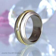 Ring in 585/- WG/GG - 6 Diamanten 0,06 ct. W/VSI - Mittelteil drehbar - 12,6 g