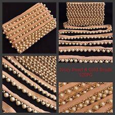9 Yards Ivory Pearl White Bead Trim Saree Border Sewon Crafting Lace Ribbon Tape
