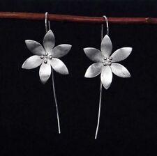 Handmade Elegant Lotus Silver Plated Ear Line Threader Dangler Woman Earrings