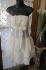 VINTAGE  Style ~ FASHION 2 YOU ~ Cr/Lace/Beads Strapless DRESS * Sz  8/10 * NWT*