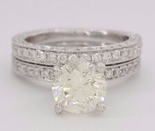 2.68 ct 18K White Gold Round Diamond Halo Engagement / Wedding Ring Set GIA 3EX