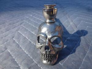 Skull Head Smoking Pipe-Pewter Silver Metal