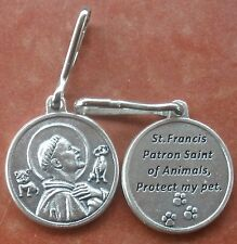DOG TAG Saint St. Francis of Assisi Protect My Pet Dog Cat Medal + Snap Clip