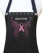 "Salon Apron ""SURVIVOR PINK RIBBON"" hair stylist kitchen chef tailgating party"