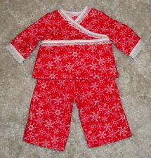 "18"" Doll Red & White Snowflake Pajama & Robe Set (Fits American Girl) - So Cute!"