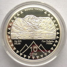 Kyrgyzstan 2011 Pobeda Peak Events 10 Som Silver Coin,Proof