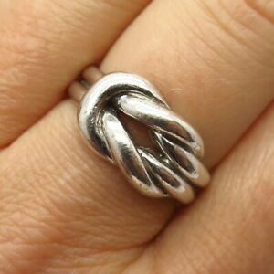 925 Sterling Silver Knot Design Ring Size 8