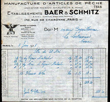 """PARIS (XI°) USINE de BRIARE (45) de CANNES à PECHE """"BAER & SCHMITZ"""" en 1936"""