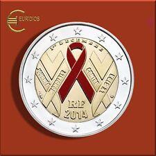 """2 Euro € Gedenkmünze Frankreich 2014 """" Welt Aids Tag """" coloriert aus Coin Card"""