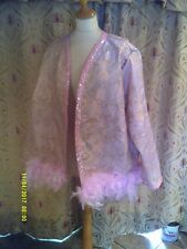 Drag Queen  SHORT pink brocade coat with pale pink  feathers