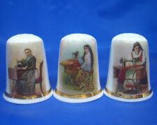 Birchcroft China Thimbles -- Set of Three -- World Sewing Ladies
