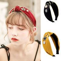 Women's Crystal Tie Headband Hairband Wide Fabric Hair Bands Hoop Accessories