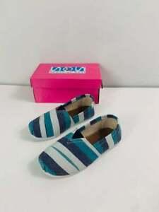 Brand New With Box Toddler Girls Aqua Striped Multi Canvas Flats