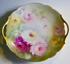 Handpainted Plate T & V Limoges Plate K. L. Berry Signed Chyrsanthemums Antique