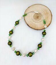 Halskette geflochten grün khaki beige funkel Glitzer Miracle Perlen Magnet 49cm
