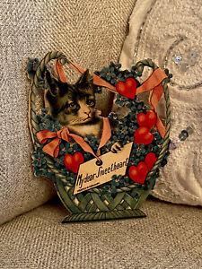 Antique German Die Cut Easel Valentine Black And White Cat Basket Victorian