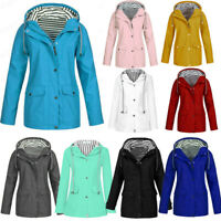 Women Solid Hooded Rain Jacket Outdoor Plus Waterproof Hooded Raincoat Windproof