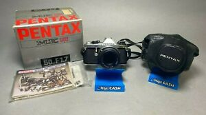 Pentax ME Super Silver SLR Film Camera w/ Pentax-M 50mm f/1.7 - ORIGINAL BOX